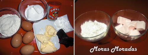 ingredientes para hacer un pastel de corazón con fondant de nubes