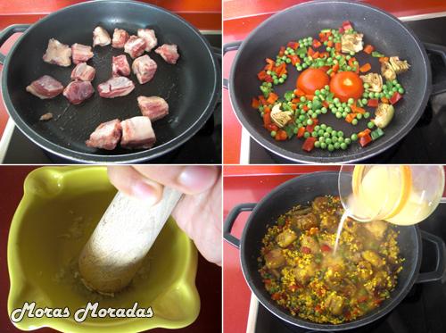 como hacer paella con costilla de cerdo